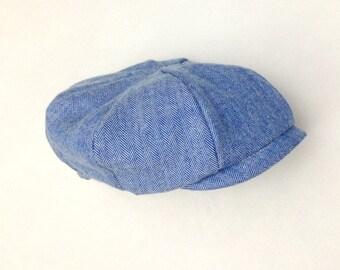 Newsboy Hat Baby, Blue Baby Hat, Blue Newborn Hat, Blue Newsboy Hat, Handmade Baby Gift, Baby Boy Hat, Baby Golf Hat, Baby Boy Photography