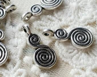 17 mm Tibetan Silver Whirlpool Charm Pendants (.mcg).