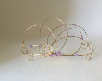 lilac and gold fairy tiara
