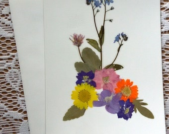 HANDMADE GREETING CARD - Pressed Flowers, Unique Colorful Garden Flowers Art, Blank Stationary,  Pink, Blue, Yellow and Orange Garden Card