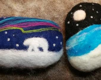 Felted Soap, Northern Lights, Polar Bear, Arctic Night, Christmas Gift, Stocking Stuffer