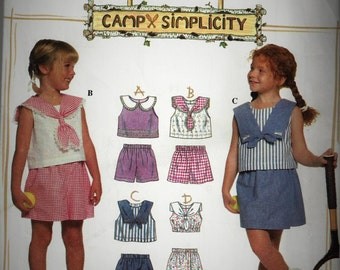 Kids Sewing Pattern Simplicity 7094 Camp Simplicity Top Shorts Skort Sailor Nautical Size 5 6 6XVintage 1996  UncutFactory Folded