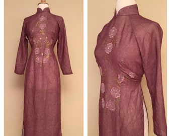 ON SALE Japanese Asian Dress with Side Slits Sheer Rose Pink Purple Embroidered Flowers and Hand Painted Decoration Size Medium Large