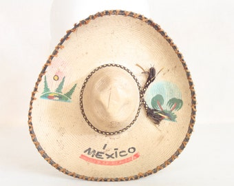 Vintage Mexican Sombrero Straw Small Party Hat Dog Hat Prop Party Decoration Party Decor
