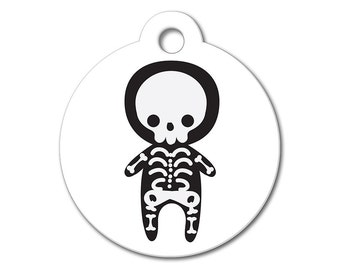 SALE Halloween Skeleton Pet Tag - Dog Tags for Dogs - Custom Pet ID Tag for Dogs or Cats, Personalized Dog ID Tag, Sizes Small and Large
