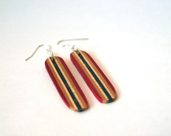 Wood Earrings made from Recycled Skateboard- Unique Earrings - Red Drop Earrings