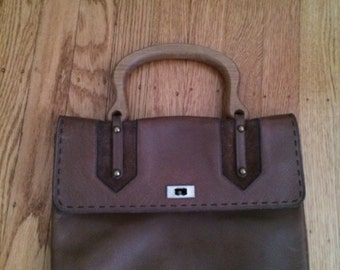 Vintage leather purse with wooden handle