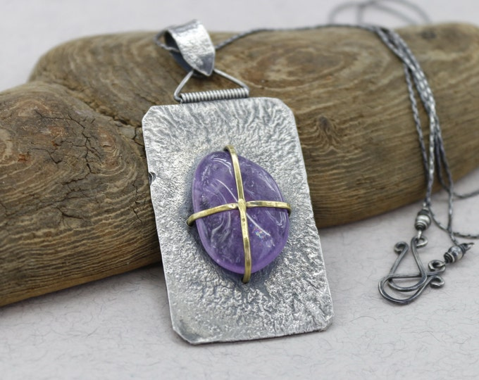 Raw Amethyst Necklace Big Necklace Sterling Silver Rectangle Necklace Large Textured Necklace Purple Christmas Gift for Her One of a kind
