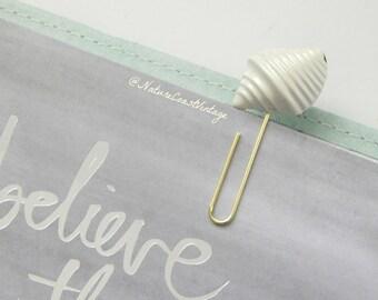 White Mermaid Shell Enamel Metal Handmade Planner Clip Authentic Vintage Jewelry
