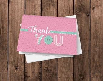 Baby Girl Button - Thank You Cards - Notecards - Stationery