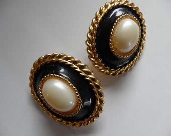 Large Important Clip Earrings, Dramatic Black with Pearl Center