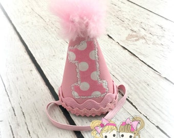 "Itty Bitty Birthday Hat- 4""- Pink polka Dots"