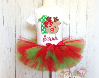 Christmas birthday outfit - reindeer tutu outfit - Girls 1st birthday outfit - First Christmas outfit - Christmas reindeer tutu set