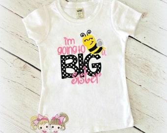 "Big sister shirt - Big sister to ""bee"" - Bumblebee big sister shirt - bumblebee themed big sister shirt - personalized big sister shirt"