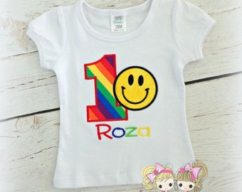 Rainbow Smile Face Birthday Shirt- Custom embroidery- Personalized birthday shirt