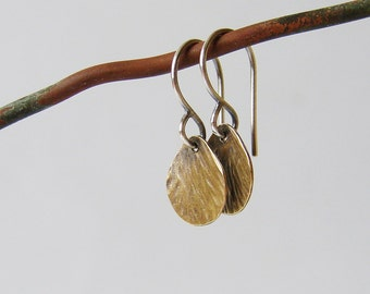 Minimalist drop earrings. Delicate textured brass and silver earrings. Rustic patina jewelry for her.