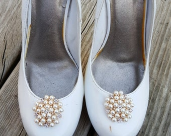 Wedding Vintage Style Shoe Clips, Bridal Shoe Clips, Rhinestone Shoe CLips, Pearl Shoe Clips, Clips for Wedding SHoes, Bridal SHoes -