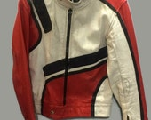 Racing Leather Jacket Red White and Black Cafe Racer Racing Jacket Mr Motorcycle Size M from the 1980s