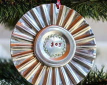 JOY Hand Stamped Tart Tin Christmas Ornament rustic wreath hand crafted
