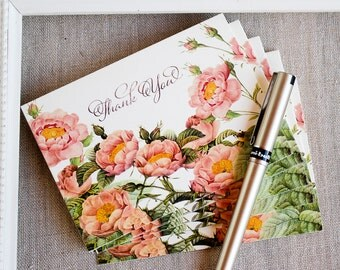 Thank You Notes set of 20 Pink and Gold Roses Watercolor Vintage Botanical Illustration