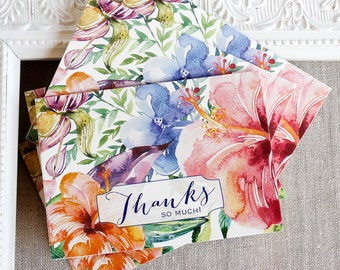 Tropical Hibiscus Thank You Notes set of 5  Watercolor Floral