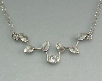White topaz vine necklace - sterling silver leaf necklace - elven necklace - woodland necklace - botanical bridal necklace -April birthstone