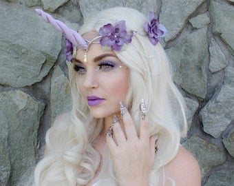 Lavender Unicorn Headpiece - crown headdress