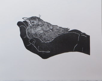 Woodblock print: Holding (variation)