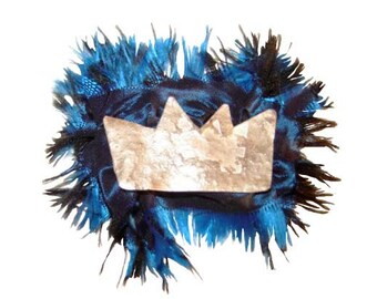 crown silver broach, blue silk pin, irregular crown pin, colorful winter broach, prince gift, princess present, Basquiat fan, organic crown