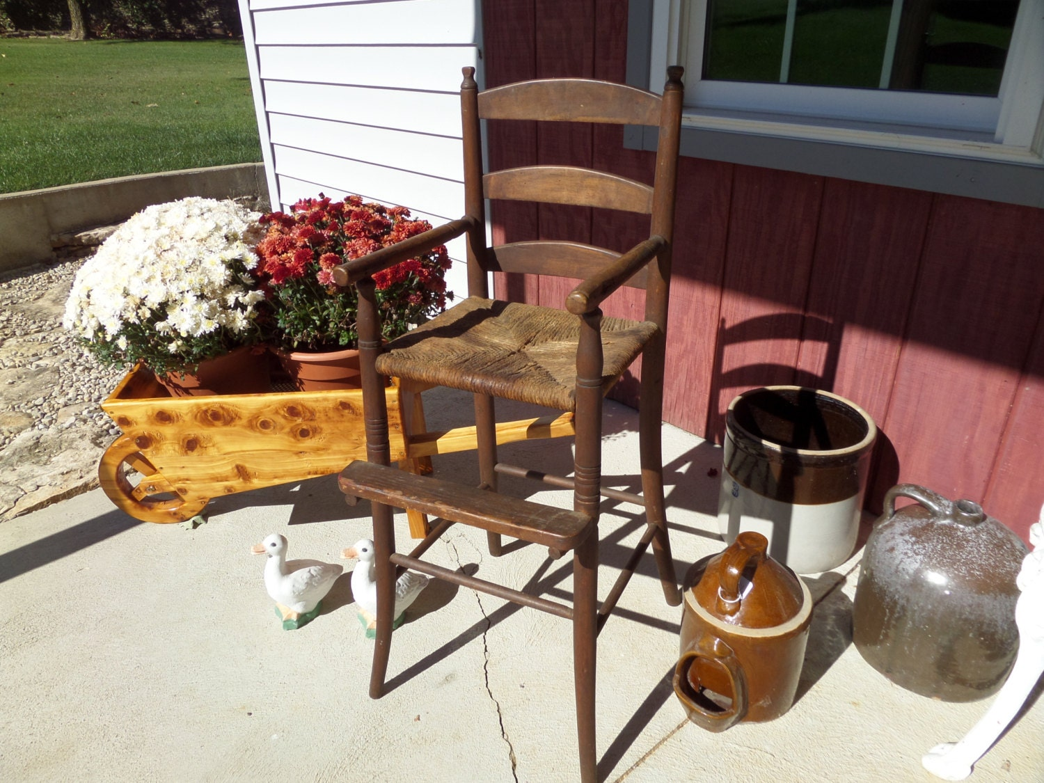 Antique Furniture Primitive High Chair With Rush
