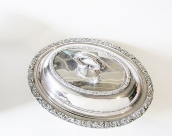 Ornate Casserole Dish, Old English Reproduction, International Silver Vegetable Dish