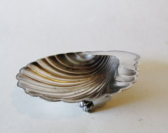 Hollywood Regency Shell Tray,  International Silver Co., Business Card Holder