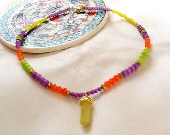 Lemon jade necklace , jade pendant necklace , yoga necklace , bohemian necklace , healing necklace , indie necklace , hippie necklace