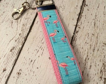 Flamingo print key fob wristlet on pink cotton webbing with swivel lobster clasp