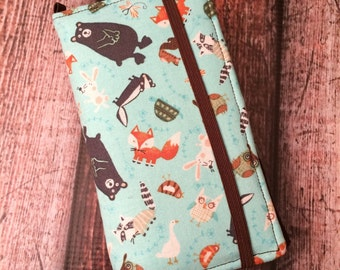 iPhone wallet, iPhone case- forest friends print wallet with removable gel case