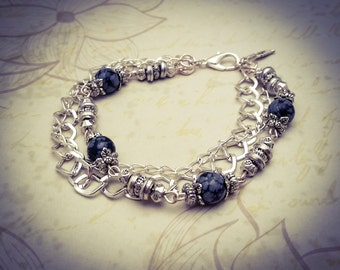 Black/Grey Snowflake Obsidian Jasper Natural Gemstone Silver Plated Layered Boho Chain Bracelet - [B14]