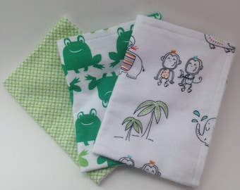 Burp Cloths / Set of 3 Double thickness flannel: Green Frogs and jungle animals