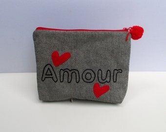 Amour pouch bag , handmade, hand embroidered, red zipper close, clutch,Cosmetic pouch bag, Pencil case, ooak