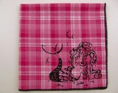 Hankie- MERMAID shown on super soft PINK plaid cotton Hanky-or choose from white or any solid colors or plaids shown in pics