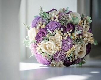 Alternative Bridal Bouquet - Luxe Collection Bridal Bouquet- Purple, Sola Flowers, Dusty Miller