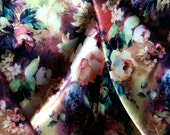 Vintage Floral Satin Fabric by the Meter