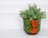 Flamed orange green vintage planter