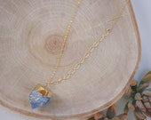 Indigo Crystal Quartz Gold Necklace