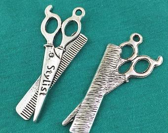 8pcs Antique Silver Scissors Charm Pendants 21x53mm AB507-4