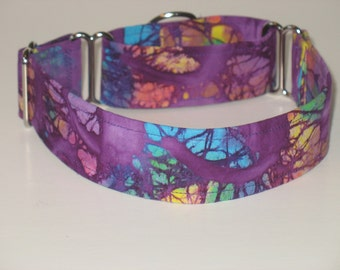 "1.5"" Martingale Dog Collar Purple Tie Dye"