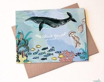 Whale Thank You Card - whale thanks, ocean thank you, ocean greeting card, jellyfish, fish card