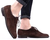 Mens Suede BROGUES 70s Broen Oxford Leather Shoes Round Toe Brown Wing Tip Hipster Urban Indie Boyfriend Gift mens size USA 9 Eur 43 UK 8.5