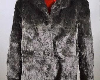 Vintage Medium Jet Black Rabbit Fur Coat by Somerset Furs Los Angeles