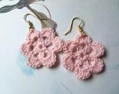 Soft Pink Handmade Crochet Flower Earrings