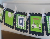 """Golf Golfer Theme Green Navy Preppy Argyle """"Its a Boy"""" Baby Shower Banner - Cupcake Toppers, Favor Tags, Place Cards & Door Sign Available"""